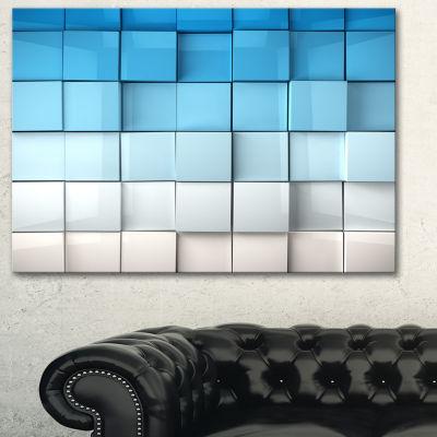 Designart Blue And White Mosaic Cubes ContemporaryArtwork - 3 Panels