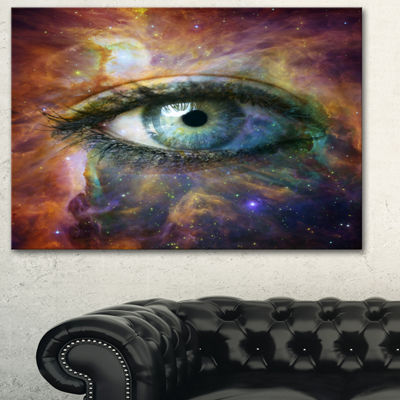 Designart Human Eye Looking In Universe Contemporary Canvas Art Print