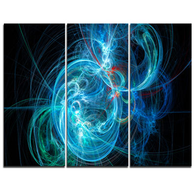 Designart Blue Ball Of Yarn Abstract Canvas Art Print - 3 Panels