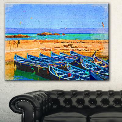 Designart Blue Boats In Sea Seascape Canvas Art Print