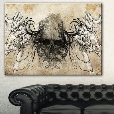 Designart Human Skull Tattoo Sketch Abstract PrintOn Canvas