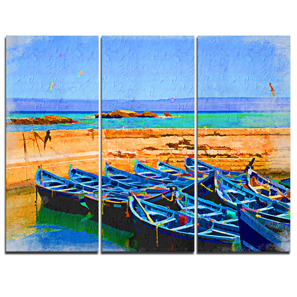 Designart Blue Boats In Sea Seascape Canvas Art Print - 3 Panels