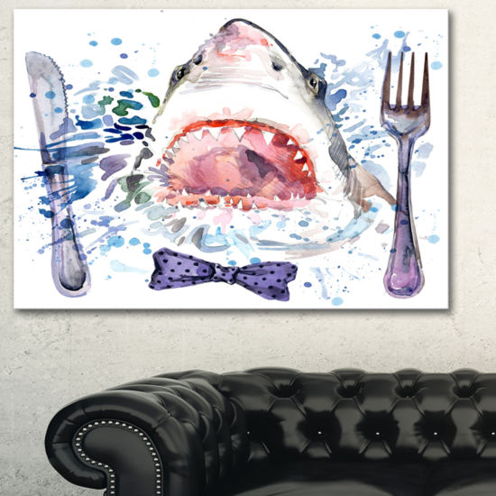 Designart Hungry Shark Illustration Animal Art OnCanvas