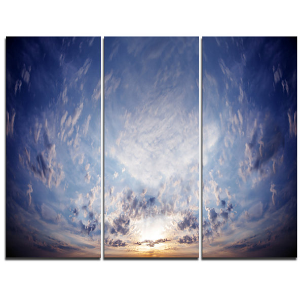 Designart Blue Celestial Landscape Photography Canvas Art Print - 3 Panels