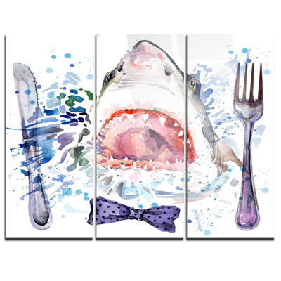 Designart Hungry Shark Illustration Animal Art OnCanvas - 3 Panels
