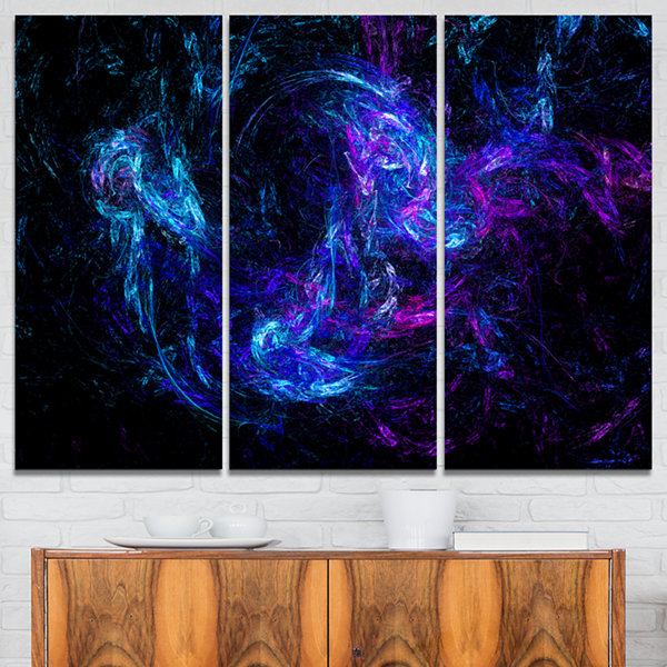 Designart Blue Chaotic Strokes Abstract Canvas ArtPrint - 3 Panels