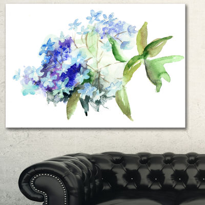Designart Hydrangea Blue Flowers Floral Art CanvasPrint