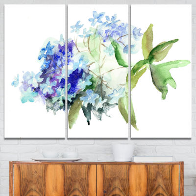 Designart Hydrangea Blue Flowers Floral Art CanvasPrint - 3 Panels