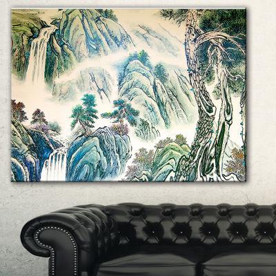 Designart Blue Chinese Landscape Painting FloralArt Canvas Print