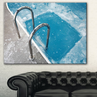 Designart Ice Swimming Blue Pool Photography Canvas Art Print - 3 Panels