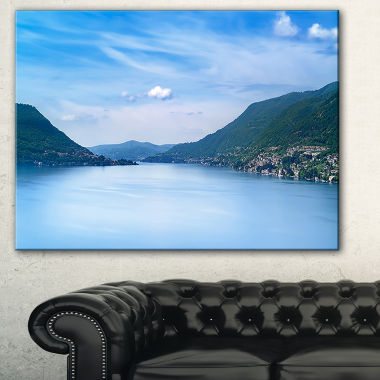 Designart Blue Como Lake Landscape Photography Canvas Art Print