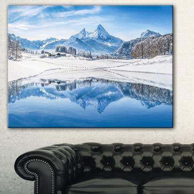 Designart Icy Winter Mountain Alps Landscape Photography Canvas Print - 3 Panels