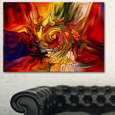Designart Illusions Of Stained Glass Abstract Canvas Artwork - 3 Panels