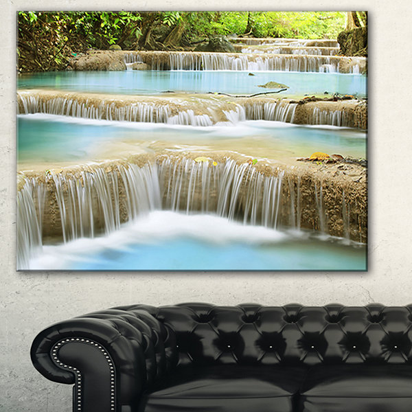 Designart Blue Erawan Waterfall Landscape Photography Canvas Art Print