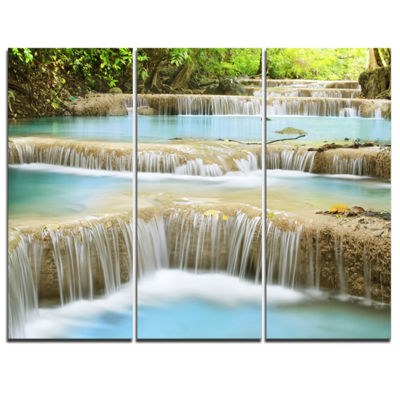 Designart Blue Erawan Waterfall Landscape Photography Canvas Art Print - 3 Panels