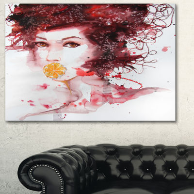 Designart Illustrated Girl With Red Hair AbstractPortrait Canvas Print