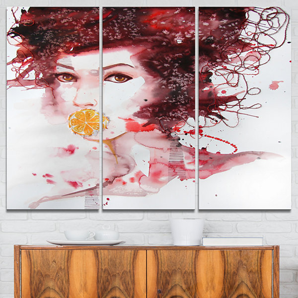 Designart Illustrated Girl With Red Hair AbstractPortrait Canvas Print - 3 Panels