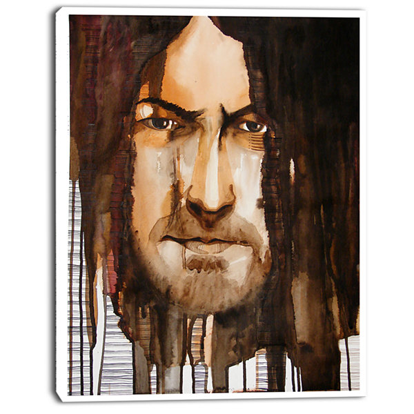Designart Illustrated Handsome Guy Abstract Portrait Canvas Print