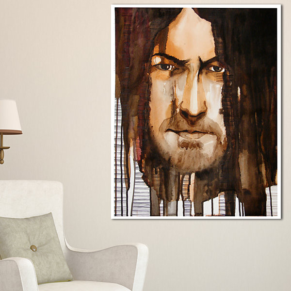 Designart Illustrated Handsome Guy Abstract Portrait Canvas Print - 3 Panels