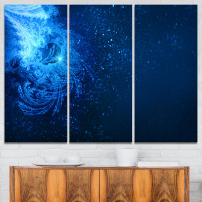Designart Blue Falling Snow Abstract Canvas Art Print - 3 Panels