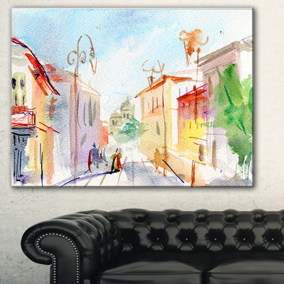 Designart Illustrated Parisian Street WatercolorCityscape Canvas Art Print - 3 Panels