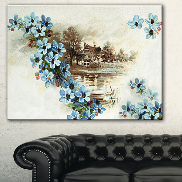 Designart Blue Flowers Illustration Floral Art Canvas Print