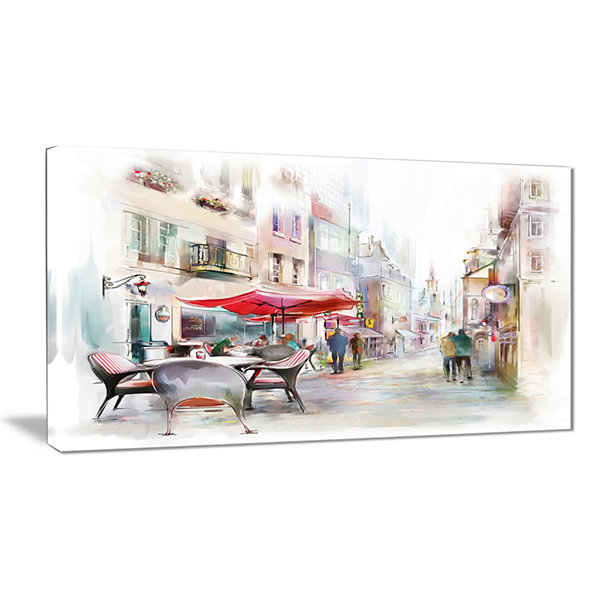 Designart Illustrated Street Art Cityscape Abstract Cityscape Art