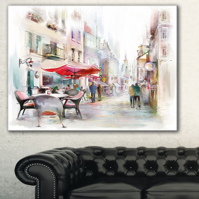 Designart Illustrated Street Art Cityscape Abstract Cityscape Art - 3 Panels
