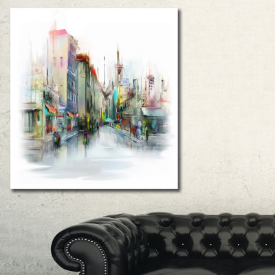 Designart Illustration Of City Street Cityscape Canvas Print