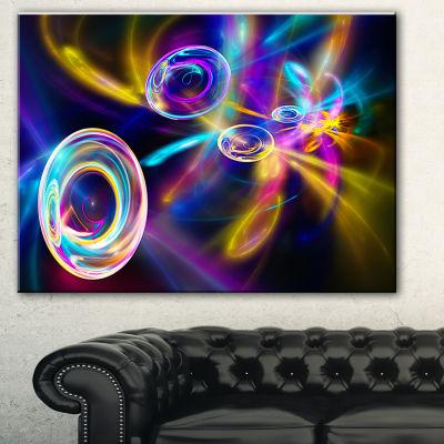 Designart Blue Fractal Desktop Contemporary CanvasArt Print - 3 Panels