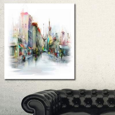 Designart Illustration Of City Street Cityscape Canvas Print - 3 Panels
