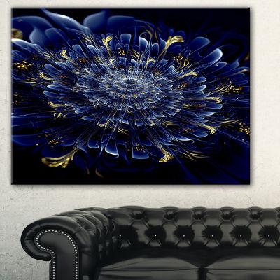 Designart Blue Fractal Flower Floral Art Canvas Print