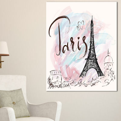 Designart Illustration With Paris Eiffel Tower Abstract Cityscape Canvas Print