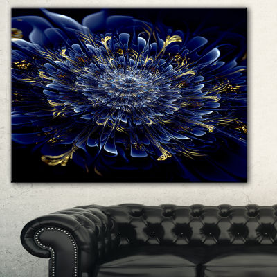 Design Art Blue Fractal Flower Floral Art Canvas Print - 3 Panels