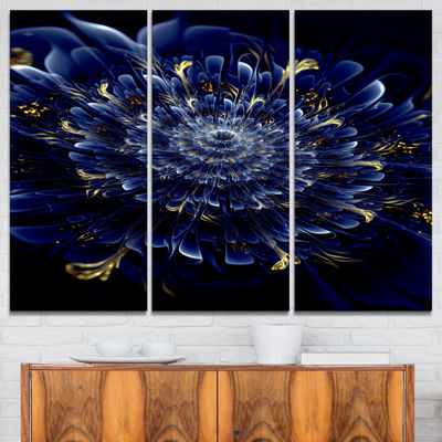 Designart Blue Fractal Flower Floral Art Canvas Print - 3 Panels