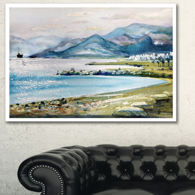 Designart Blue Hills Over Sea Landscape Art PrintCanvas