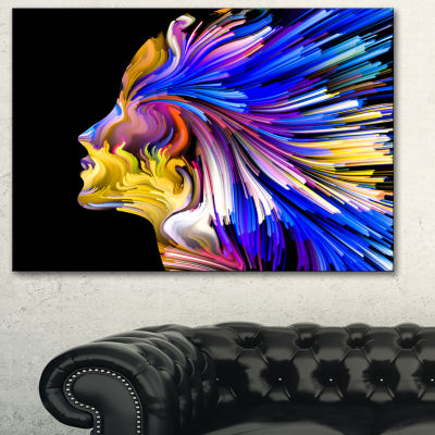 Designart Imagination In Blue Abstract Canvas ArtPrint - 3 Panels