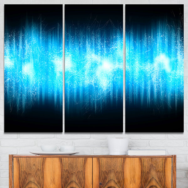 Designart Blue Ice Flame Abstract Abstract PrintOnCanvas - 3 Panels