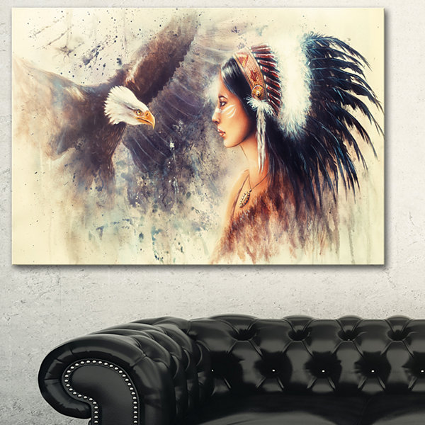 Designart Indian Woman And Eagle Portrait CanvasArt Print - 3 Panels
