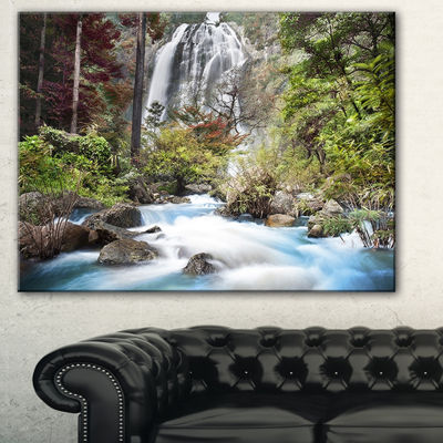 Designart Blue Klonglan Waterfall Photography Canvas Art Print - 3 Panels