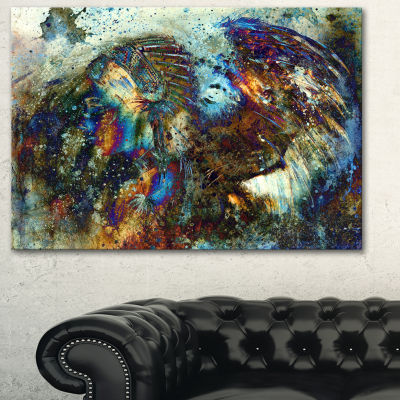Designart Indian Woman Collage With Lion Woman Canvas Print