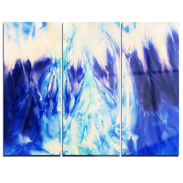 Designart Blue Life Abstract Canvas Art Print - 3Panels