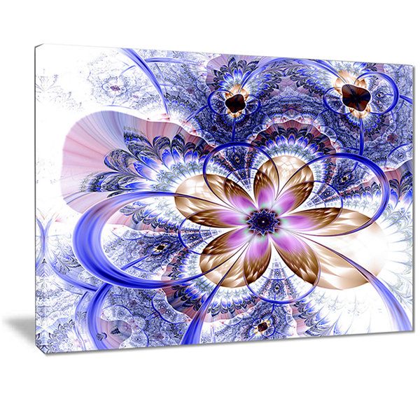 Designart Blue Light Fractal Flower Floral Art Canvas Print