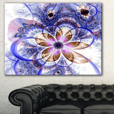 Designart Blue Light Fractal Flower Floral Art Canvas Print - 3 Panels