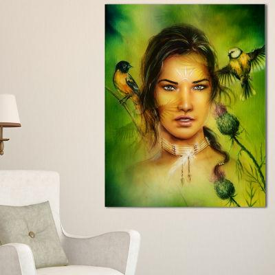 Designart Indian Woman With Birds Portrait CanvasPrint