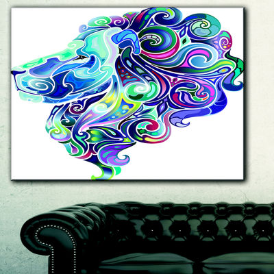 Designart Blue Lion Abstract Art Animal Canvas ArtPrint