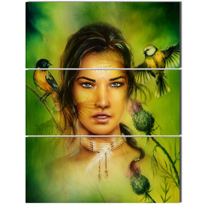 Designart Indian Woman With Birds Portrait CanvasPrint - 3 Panels