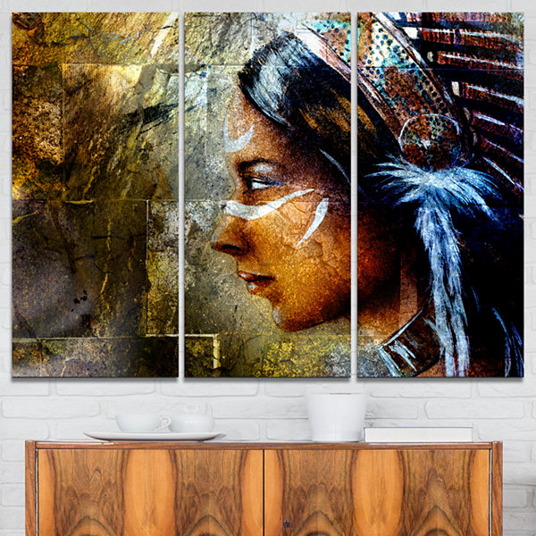Designart Indian Woman With Headdress Portrait Canvas Art Print - 3 Panels