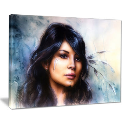 Designart Indian Woman With Ornament Tattoo Portrait Canvas Art Print