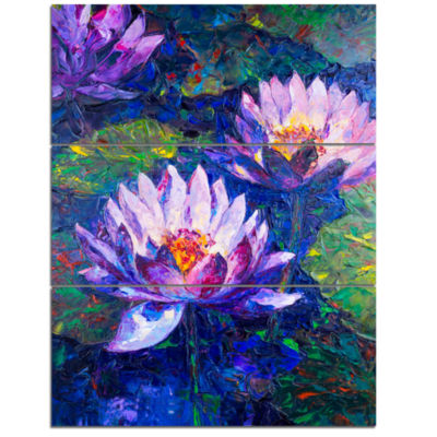 Designart Blue Lotus Oil Painting Floral Art Canvas Print - 3 Panels
